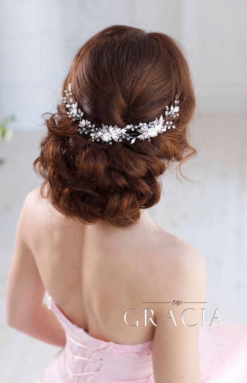 Bridal hairpiece Wedding hairpiece Bridal headband Bridal hair image 1