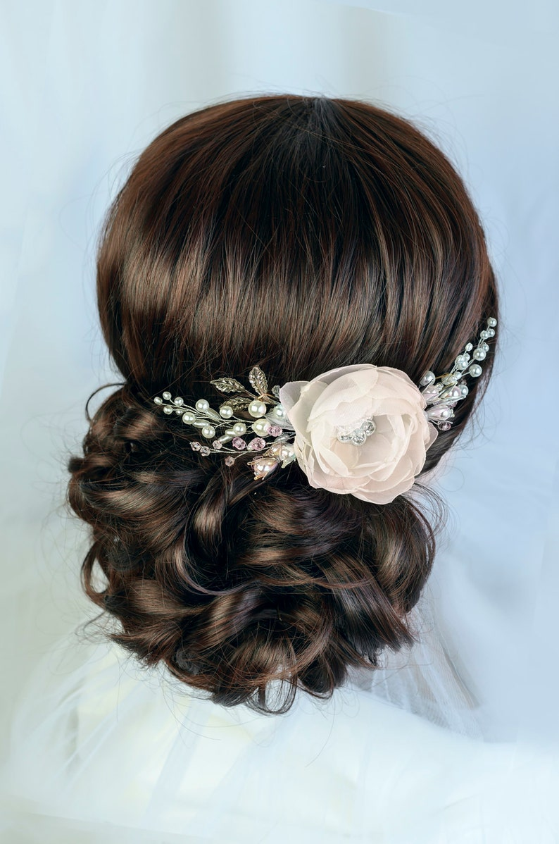 Champagne hair Flower White Floral Bridal hair comb Wedding image 0