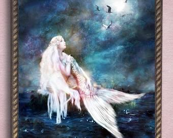 Mermaid Painting,  Mermaid Art, Mermaid Canvas Wall Art, Mermaid Print, Mermaid Wall Art, Mythical Creature, Fantasy Art, Bathroom Decor