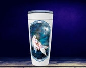 Full Moon Mermaid Travel Tumbler, Fantasy Mermaid Travel Cup, Fairy Tale Tumbler, Mythical Creature Travel Cup, Mermaid Gift