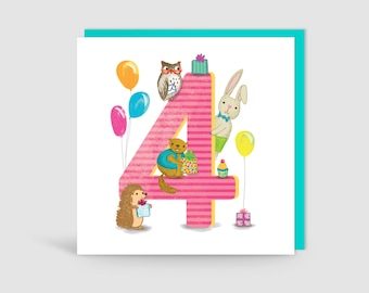 Age 4 Birthday Bunch Animal Card