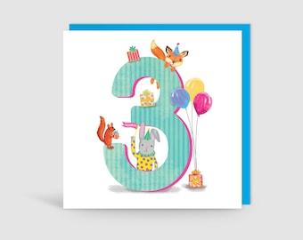 Age 3 Birthday Bunch Animal Card