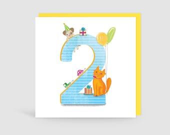 Age 2 Birthday Bunch Animal Card