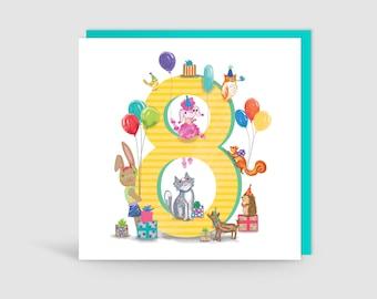 Age 8 Birthday Bunch Animal Card