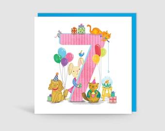 Age 7 Birthday Bunch Animal Card