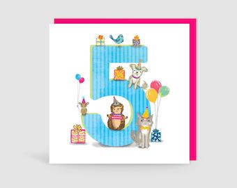 Age 5 Birthday Bunch Animal Card