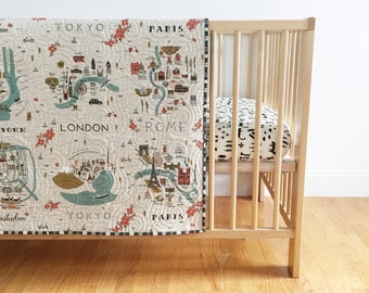 Rifle Paper Co. Wholecloth Baby Quilt in City Maps Canvas and Grid in Charcoal - Tummy Time Quilt MADE-to-ORDER paris toddler quilt, travel