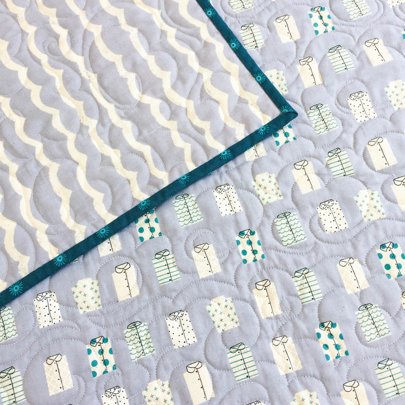 Baby Toddler Quilt KUJIRA SHIRTS in FOG cotton blue chambray waves ocean shirts travel turquoise crib bedding stroller blanket heirloom