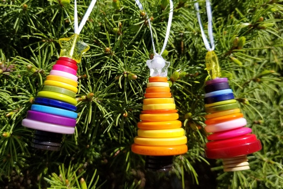 Button christmas tree ornaments striped rainbow etsy