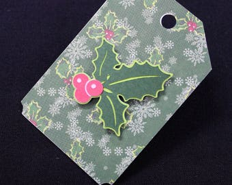 Gift tags, Christmas, holly, 3D, wrapping, set of 5