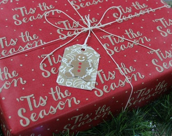 Gift tags, Christmas, Signs of the Season, 3D, wrapping, set of 5