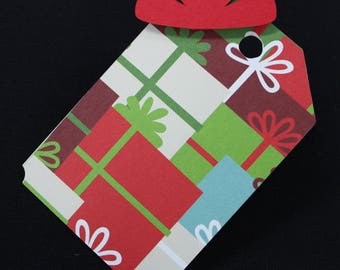 Gift tags, Christmas, gift, 3D, wrapping, set of 5