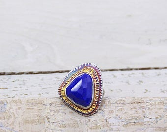 Lapis Statement Ring with 24k Gold Accents Size 7   Large Ring   Keum Boo Ring