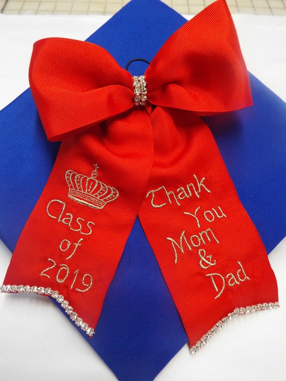Graduation Bows with Crystal Rhinestones Grosgrain Ribbon12 colors to pick from  Hoop attached  Design your Bow