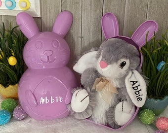 Embroidered stuffed bunny free shipping easter basket stuffer customizedpersonalized four colors