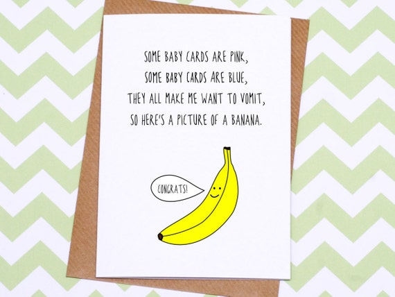 funny new baby card different baby card banana baby card etsy