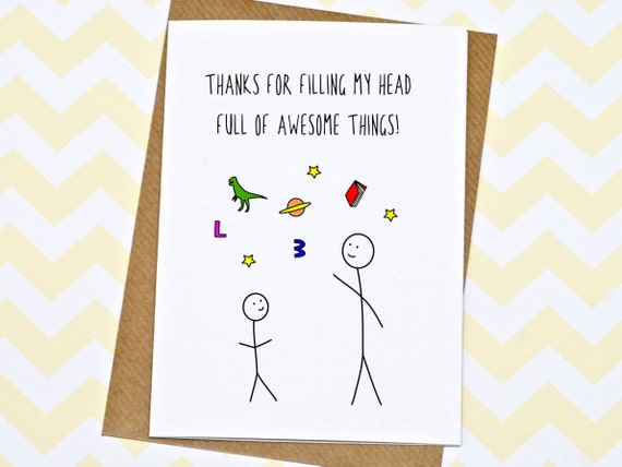 teacher card thank you teacher card thanks for teaching me etsy