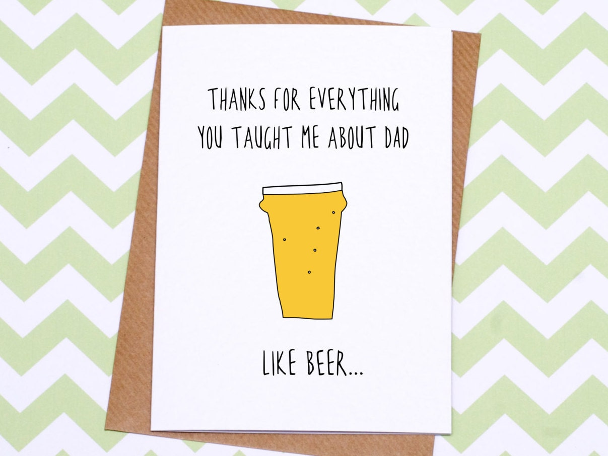 Fathers Day Card Funny Fatherss Day Card Beer Etsy