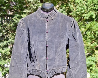 Vintage 1970s Dark Grey Short Cordoroy Jacket with Ruffles Victorian