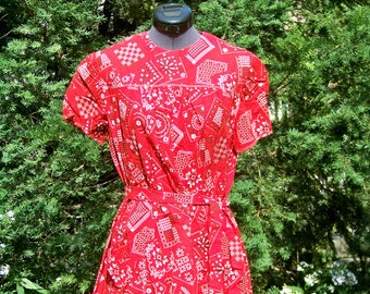 Vintage 1960s Red Bandana Print Dress One-of-a-Kind