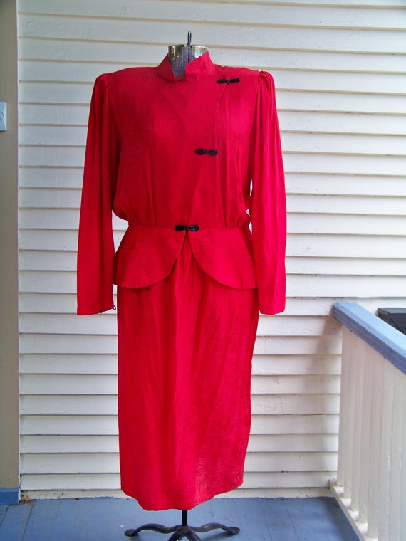 1980s Chinese Red 2 Piece Oriental-Style Dress 100