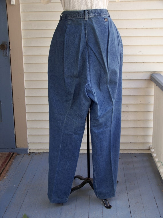 1980s Blue Denim Pleated Front High-Waisted Pants… - image 6