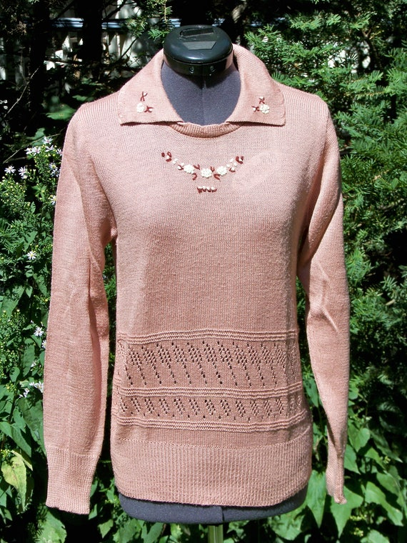 Vintage 1970s Dusty Rose Knit Sweater Retro
