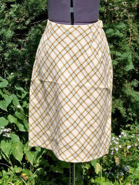 Vintage 1970s A-Line Plaid Skirt Retro