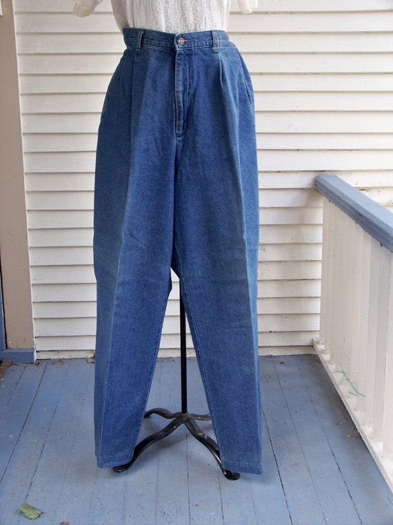 1980s Blue Denim Pleated Front High-Waisted Pants… - image 1
