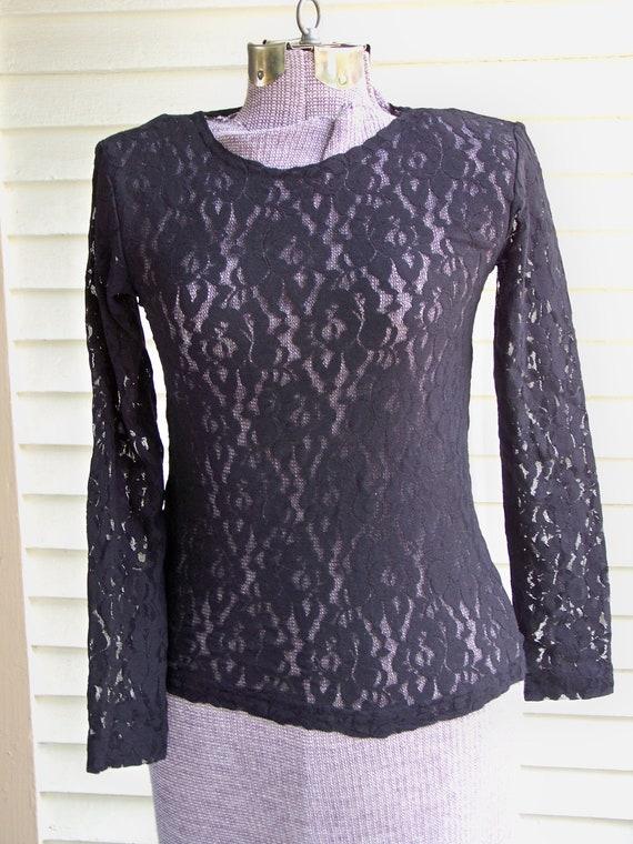 Black Lace Long Sleeve Evening Top Vintage Retro