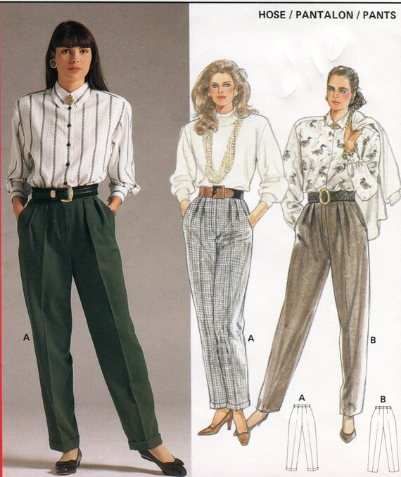 1980s Blue Denim Pleated Front High-Waisted Pants… - image 2