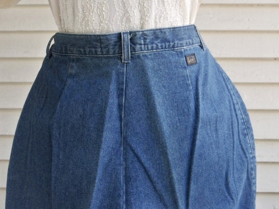 1980s Blue Denim Pleated Front High-Waisted Pants… - image 5