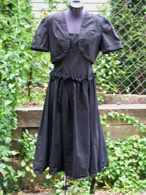 Vintage 1940s Black Cotton 2 Piece Sundress Retro