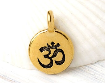 Bali Charms Yoga Charms Tiny Om Drop Charms Chakra Charms Silver Om Charms Rustic Silver Tibetan Jewelry 10 pc Round Om Symbol