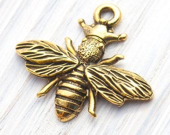 Queen Bee With Crown Charm, Gold Queen Bee Charm, Antique Gold, Made in USA, 25mm – AB51