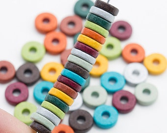 50 Greek 8mm Round Washers,  Round Spacers, Round Washer Disk, Earthy Assortment, Mixed Colors, Mykonos Greek Ceramic - Mix #4