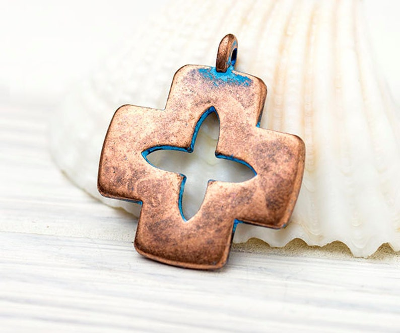 29x25mm \u2013 GN50 Copper and Blue Patina Cross Charm Zamak Metal Casting Made in Europe Rustic Cross Pendant