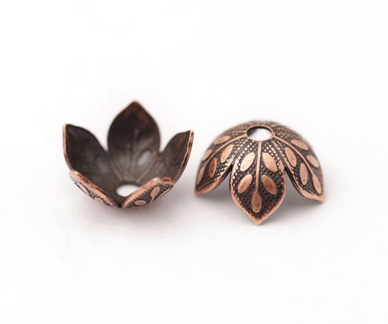 8mm Copper Leaves Bead Cap Antique Copper Bead Cap 9x4.5mm Etched Daisy Petal Copper Flower Petal Artisan Copper Beadcap