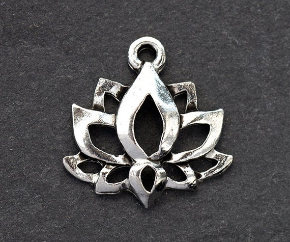 Lotus charm silver lotus flower charm buddhist symbols etsy image 0 mightylinksfo