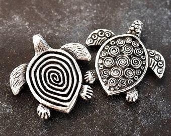 Silver Sea Turtle Pendant Spiral Turtle  Double Sided Antique Silver Mykonos Greek Metal Casting 31x32 mm, 1pc - MK42AS