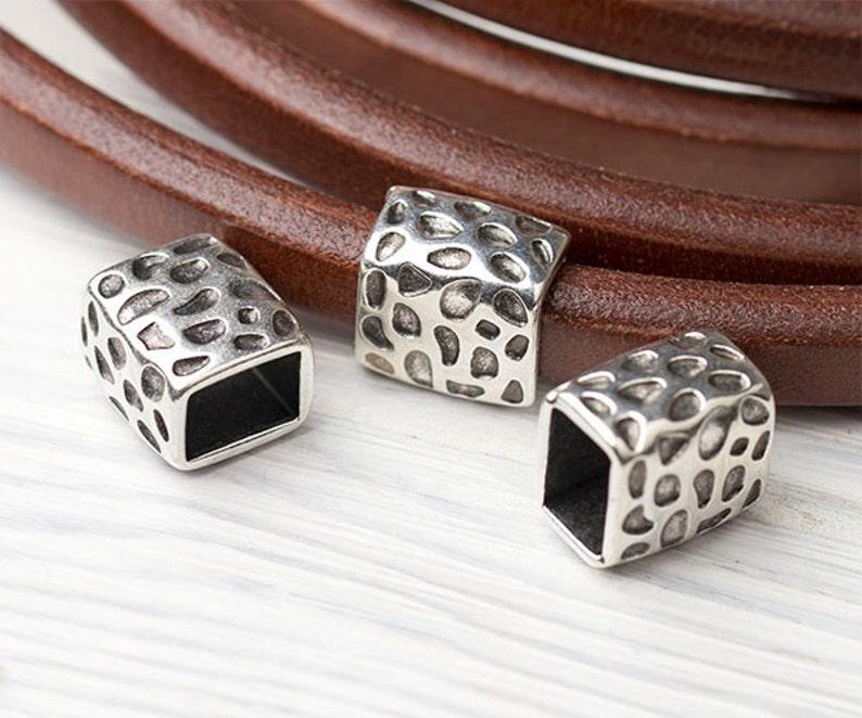 30515e1086a Greek Licorice Leather Slider Bead Regaliz Leather Metal