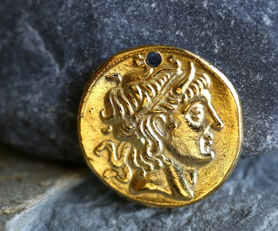 Alexander The Great Pendant with Bail GP24 Gold Plated Alexander The Great Gold Coin Pendant 25x35 mm Made in Greece 1 pc