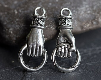 Silver Hand Charm, Hand Holding Ring Connector, Silver Hand Bail, Link, Fleur De Lis Charm, Hand Charm Holder, Antique Silver, Made in USA
