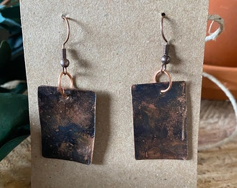 Hammered and Torched copper earrings with black patina
