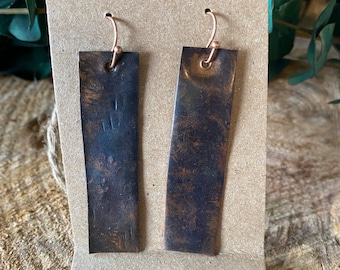hammered and torched  patina earrings!