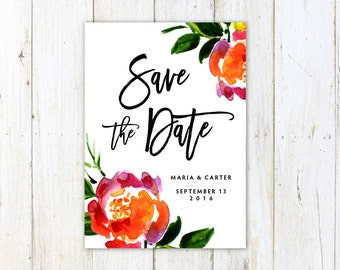 Save the Date, Watercolor Save the Date, Handwritten Calligraphy Save the Date