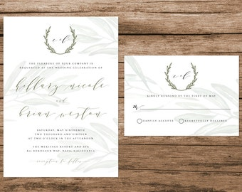 Rustic Tuscan Wedding Invitation, Watercolor Olive Branches, Vineyard Wedding