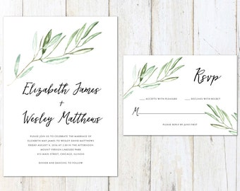 Tuscan Wedding Invitation, Rustic Wedding Invitation, Watercolor Olive Branches, Vineyard Wedding