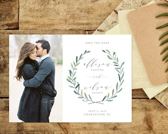 Photo Save the Date, Rustic Save the Date, Watercolor Wreath Save the Date