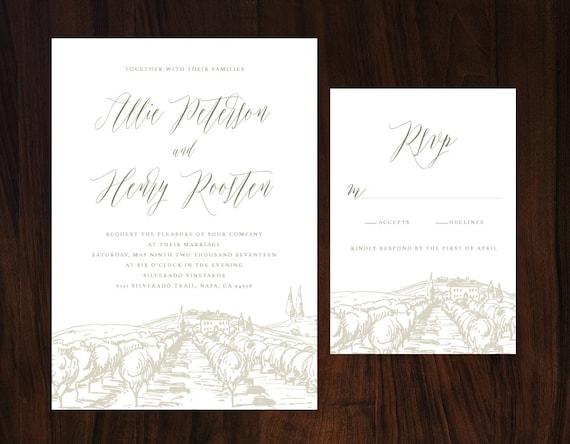 Tuscan Themed Wedding Invitations: Rustic Tuscan Wedding Invitation Vineyard Wedding Winery